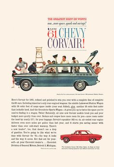 CHEVY CORVAIR AD Classic Car Ad 1961 Chevy by EncorePrintSociety