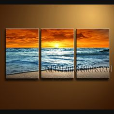Huge Modern Abstract Painting Artist Oil Painting Stretched Ready To Hang Beach Seascape. This 3 panels canvas wall art is hand painted by Bo Yi Art Studio, instock - $145. To see more, visit OilPaintingShops.com