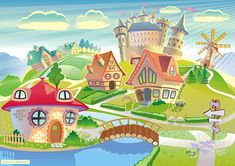 fairyland, fairy, land, dreamland, dream, fairytale, fantasy, tower, castle, medieval, fort, windmill, magic, magical, tale, cartoon, style, styled, landscape, community, town, little, village, house, habitation, imaginative, imagination, colorful, colors, saturated, red, green, blue, sky, cloud, clear, nature, world, country, architecture, exotic, children, building, grass, trees