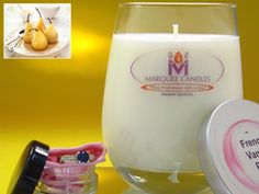 French Vanilla Pear Scented Marquee Candle with Fine Jewelry Prize Inside.