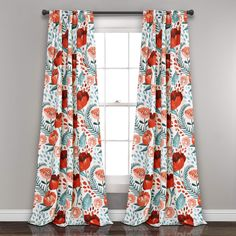 Bungalow Rose Bryonhall Poppy Garden Floral Room Darkening Thermal Rod Pocket Curtain Panels Size per Panel: W x L, Curtain Color: Multi Room Darkening Curtains, Blackout Curtains, Drapes Curtains, Bedroom Curtains, Blush Curtains, Drapery Fabric, Sala Floral, Window Panels, Curtain Panels