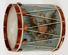 *HUGE AMERICAN MILITARY LONG DRUM ~ Dynamic eagle on a prussian ground, c. 1845-1865: A Long drum is a British-style, field bass drum that is rare among surviving American military examples.