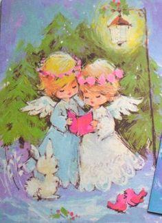 Christmas Hearts, Christmas Scenes, Christmas Past, Christmas Angels, Vintage Christmas Images, Retro Christmas, Christmas Pictures, Vintage Greeting Cards, Vintage Postcards