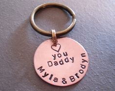 Hand Stamped Personalized Keychain for Dad Grandpa Fathers Day Gift Idea. $15.00, via Etsy.