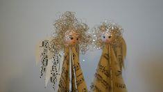 Andělíčci z notového papíru - Vánoční andělíčky jsme jednoduše vytvořili z poskládaného papíru, hlavička a vlásky jsou přilepeny tavnou pistolí. ( DIY, Hobby, Crafts, Homemade, Handmade, Creative, Ideas, Handy hands)