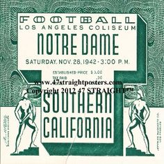 1942 Notre Dame vs. USC football ticket coasters. http://www.notredamefootballgifts.com/ Notre Dame football gifts.