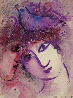 Deux visages à l'oiseau(1955)  MarcChagall