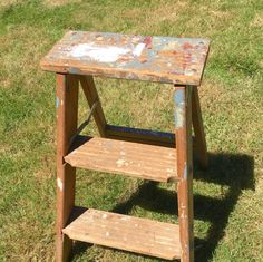 Old Wooden Folding Ladder Natural Step Stool with by ShabbyNChic