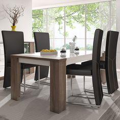 Table de salle à manger moderne blanc et chêne truffier ARMELLE