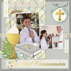 Kids Scrapbook, Scrapbook Page Layouts, Scrapbook Albums, Boys First Communion, Plywood Furniture, Baby Christening, Weekend Projects, Art Projects, Blessed