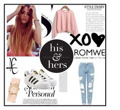 """""""PINK SWEATSHIRT"""" by zerina-okanovic ❤ liked on Polyvore featuring adidas Originals, Topshop, Michele and romwe"""