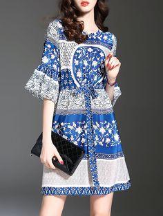 #AdoreWe #StyleWe Mini Dresses - Designer MULTIFLORA Casual Bell Sleeve A-line Printed Crew Neck Mini Dress - AdoreWe.com