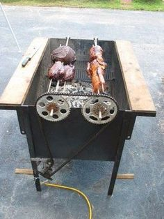 Homemade Smoker Plans Barbecue Recipes And Grill .Rezultat imagine pentru Homemade BBQ Smokers and GrillsGrill - Homemade grill constructed from steel plate, angle iron, sprockets, chain, and an electric motor.Cele mai bune idei pentru a realiza grat Homemade Smoker Plans, Homemade Grill, Homemade Tools, Diy Smoker, Metal Projects, Welding Projects, Welding Gear, Diy Welding, Diy Projects