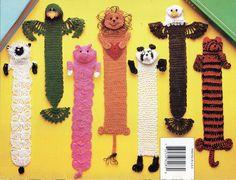 Crochet Bookmarks CROCHET PATTERN novelty animal bookmarks lion parrot eagle tiger lamb panda pig crochet cotton by Hobohooks on Etsy