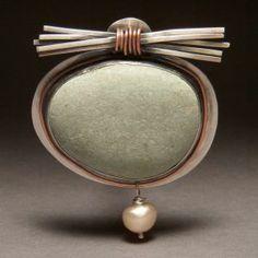 J L Walsh | Brooch - Light river stone w/ silver stick zen bundle and pearl dangle