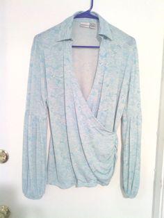 Ladies LG Blue & White Floral Pattern Long Sleeve V-Neck Blouse #NewportNews #Blouse #Career $1.99 @Ebay