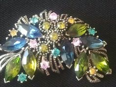 Vintage Graziano Signed Brooch Pin Rhinestone Colorful Cluster Silver Tone | eBay