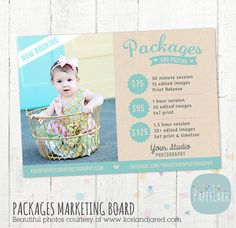 Photography Pricing Packages  Marketing Board  by PaperLarkDesigns, $8.00