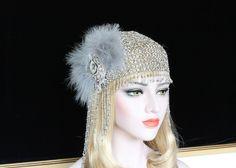 1920s Gatsby Headpiece 20s Flapper Beaded Cap Headpiece Art