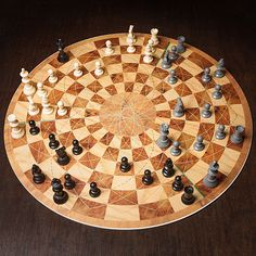 What to do? Three Player Circular Chess set. The game play manages to retain all of the rules and strategies of classic chess.