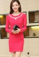 2014 Hitz Korean Version Of The Package Hip Was Thin Long-Sleeved Dress red