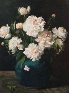 Hubert Vos - Peonies in a blue vase  (1855-1935) was a Dutch painter