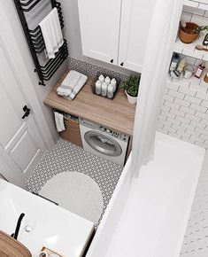 Small Bathroom Ideas On A Budget, Small Space Bathroom, Tiny House Bathroom, Bathroom Design Small, Laundry In Bathroom, Bathroom Interior Design, Laundry Rooms, Small Spaces, Small Laundry