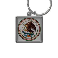 Viva Mexico Mexican Flag Icon w/ Gold Text Keychains