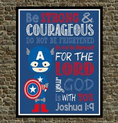 Set of 4  Superhero Wall Art  Christian Print by PixiePaperSTL