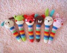Ravelry: Animal Baby Rattles pattern by Amigurumi Today Crochet Animal Patterns, Stuffed Animal Patterns, Crochet Patterns Amigurumi, Baby Knitting Patterns, Crochet Animals, Baby Patterns, Crochet Baby Toys, Crochet Baby Mobiles, Baby Rattle