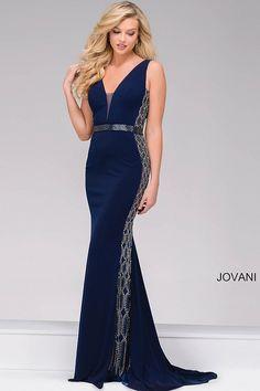 Navy Fitted Jersey V-Neck Prom Dress 42321