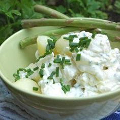 Potato salad with chives and cream cheese. A classic braai side.