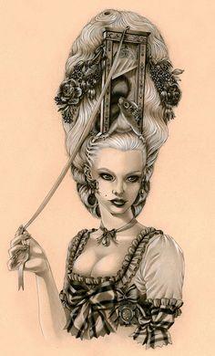 Madame la Guillotine by Zoe Lacchei Marie Antoinette Inspired. Marie Antoinette, Illustrations, Illustration Art, Rococo Fashion, Italian Artist, Pics Art, Dark Art, Painting & Drawing, Fantasy Art