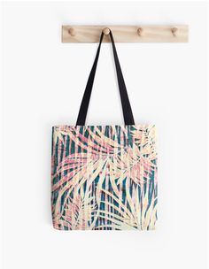 Just Imagine Tote Bag by Polka Dot Studio, #tropical #jungle #palms in coral, yellow and greens hand painted original art on #fashion #accessories. Perfect for #shopping #travel #books #organizing #school or #gift. Coordinating products available. Great to carry your matching #iPhone wallet on the go.