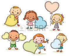 Malé kreslený děti s prázdnou znamení ve tvaru srdce
