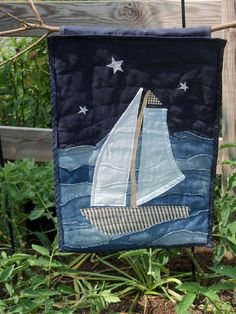 Sail Away Art Quilt, wall hanging made from recycled jeans!
