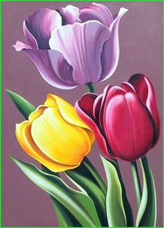Lowell Blair Nesbitt, Tulipa Hybrida, Oil Painting - May 2013 Tulip Drawing, Tulip Painting, Fabric Painting, Oil Painting Flowers, Abstract Paintings, Oil Paintings, Pictures To Paint, Painting Inspiration, Flower Art