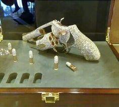 Diamond Studded Pistol with Diamond Studded Bullets