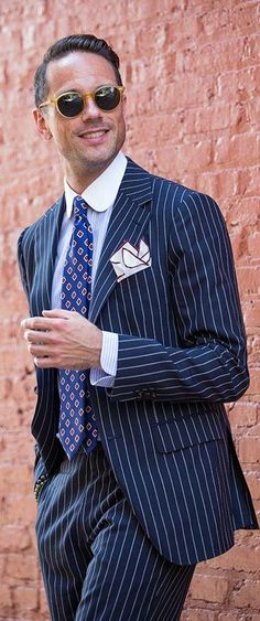 5656af88 Gentleman Style   Brian Sacawa in a Navy Pinstripe Suit Cheap Mens Fashion,  Classy,