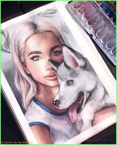 Art Sketches Ideas - By Watercolor Face, Watercolor Artwork, Watercolor Portraits, Pencil Art Drawings, Art Drawings Sketches, Disney Kunst, Wallpaper Wall, Arte Sketchbook, Sketch Painting
