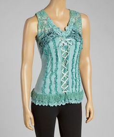 Look at this #zulilyfind! Aqua Lace-Up Silk-Blend Top by Pretty Angel #zulilyfinds