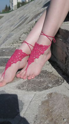Cyclamen Crochet Barefoot Sandals, Nude shoes, Foot jewelry, Destination Wedding, Anklet , Barefoot bride, Bridesmaid gift  $15.00 USD