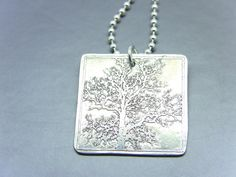 Pewter Etched Tree Pendant Necklace by ljjwls on Etsy