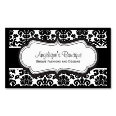 Elegant Black and White Damask Business Cards. This is a fully customizable business card and available on several paper types for your needs. You can upload your own image or use the image as is. Just click this template to get started!