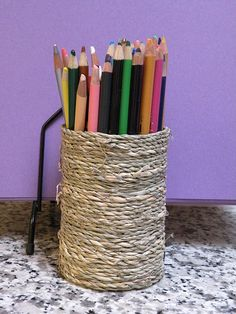 Make an adorable pencil jar from a can and jute