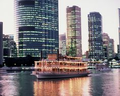 Cruise, wine & dine with the best Brisbane Cruises on the river. Offering amazing views, entertainment, restaurant style dining on the Kookaburra Queens. River Queen, Brisbane River, Cruise Offers, City Lights, High Tea, Cruises, New York Skyline, Queens, Lunch