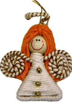 Fair Trade Yarn Angel Ornament, Colombia - Cotton yarn is hand-wrapped to create this cute ornament that is handmade in Colombia.   These ornaments are made by single mothers in a rural Colombian town where there are limited opportunities for employment. Your purchase allows these women to care for and serve as role models for their children.