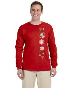 Bedlington Terrier Red Snowflakes Long Sleeve Red Unisex Tshirt Adult Small SS4690-LS-RED-S