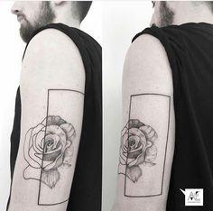 Artist: Axel Ejsmont #Geometric #tattoo #flower #rose