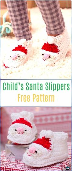 Crochet Child's Santa Slippers Free Pattern - Crochet Santa Clause Free Patterns
